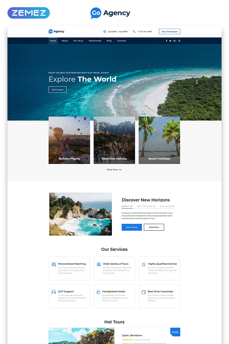 Responsivt Go Agency - Travel Agency Clean Bootstrap HTML Landing Page-mall #77144