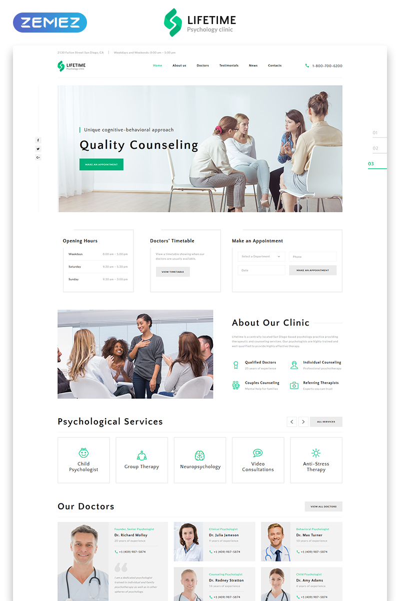 Responsivt Lifetime - Psychologist Clean HTML Landing Page-mall #77145