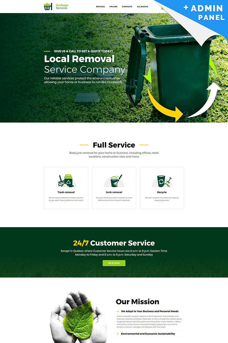 "Tema di Landing Page Responsive #77142 ""Garbage Services"""