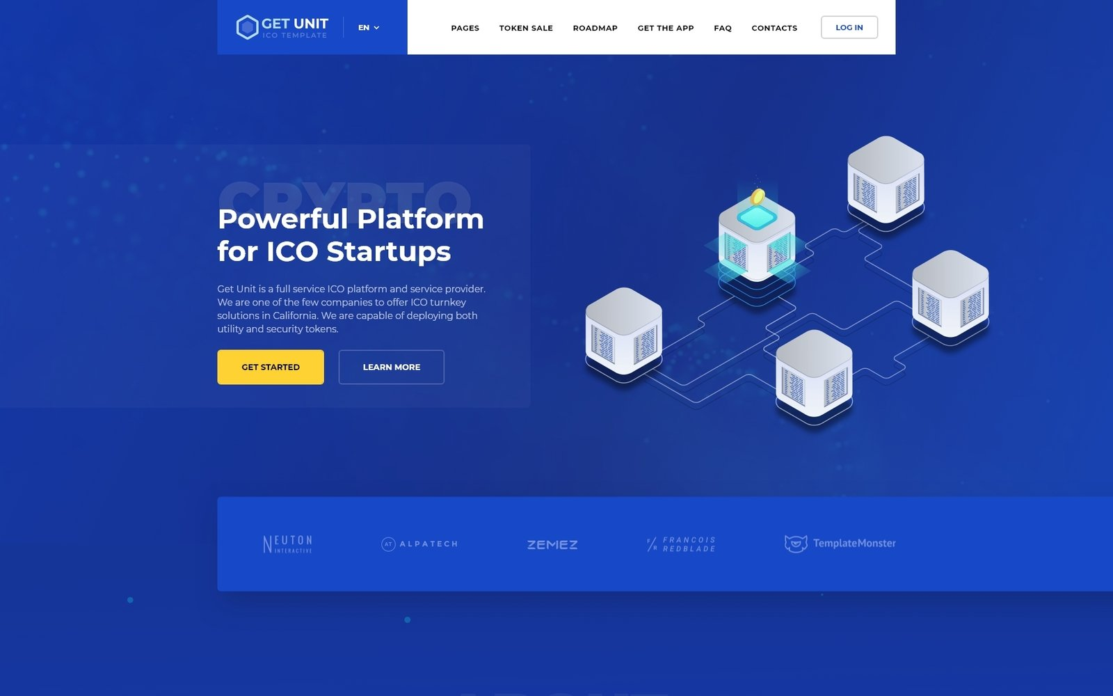 "Website Vorlage namens ""Get Unit - ICO Crypto Currency Multipage HTML"" #77143"