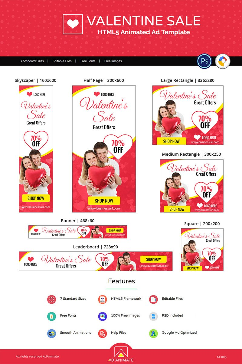 "Animated Banner namens ""Valentine Sale Shopping"" #77241"