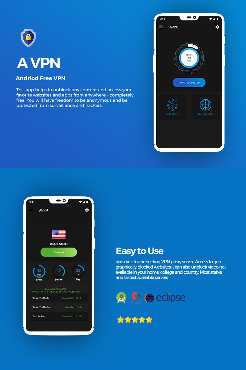 "App Vorlage namens ""AVPN Android Unlimited Free VPN"" #77293"