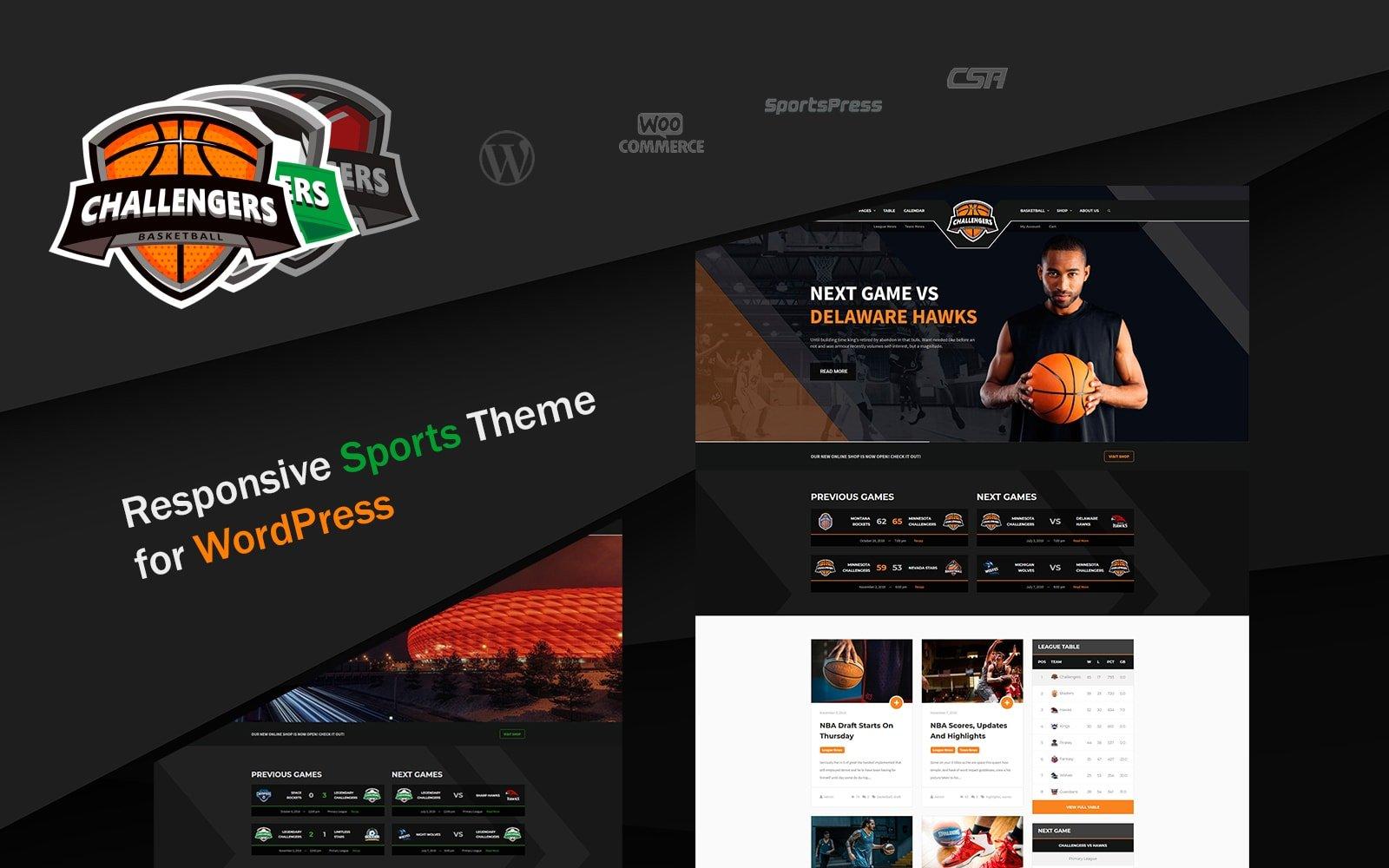 """Challengers - Sports Clubs"" 响应式WordPress模板 #77292"