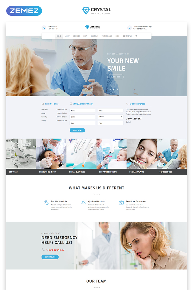 """""""Crystal - Dentistry Clean Bootstrap HTML"""" 响应式着陆页模板 #77209"""