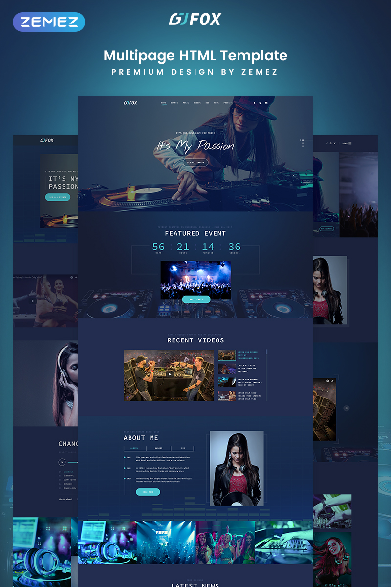 """DJ FOX - DJ Multipage Creative Bootstrap HTML"" Responsive Website template №77217"
