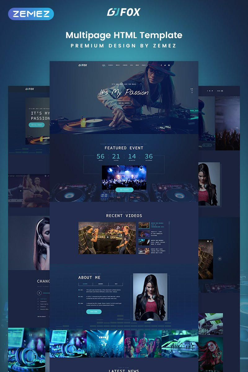 DJ FOX - DJ Multipage Creative Bootstrap HTML Website Template