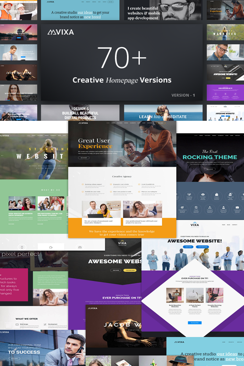 "Joomla Vorlage namens ""Vixa - Responsive MultiPurpose Business Website"" #77239"
