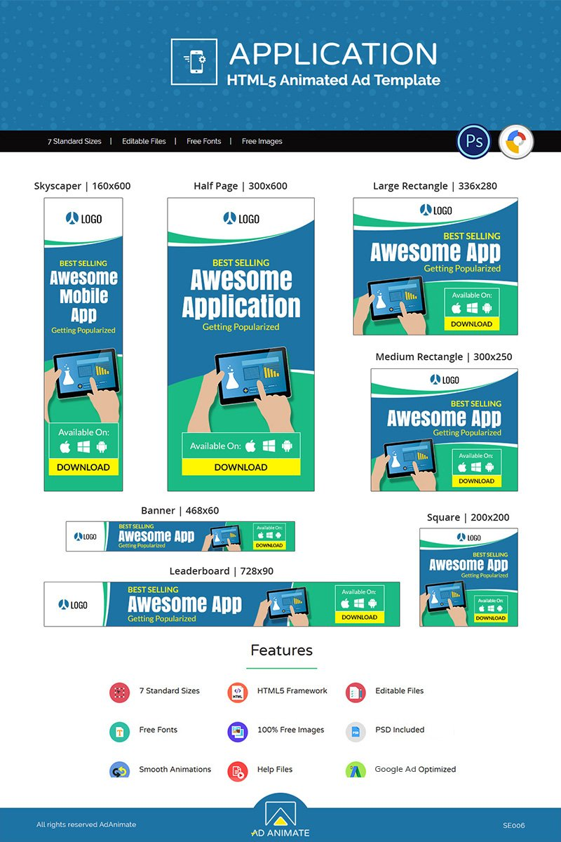 """""""Mobile Application Ad"""" Animated Banner №77242"""