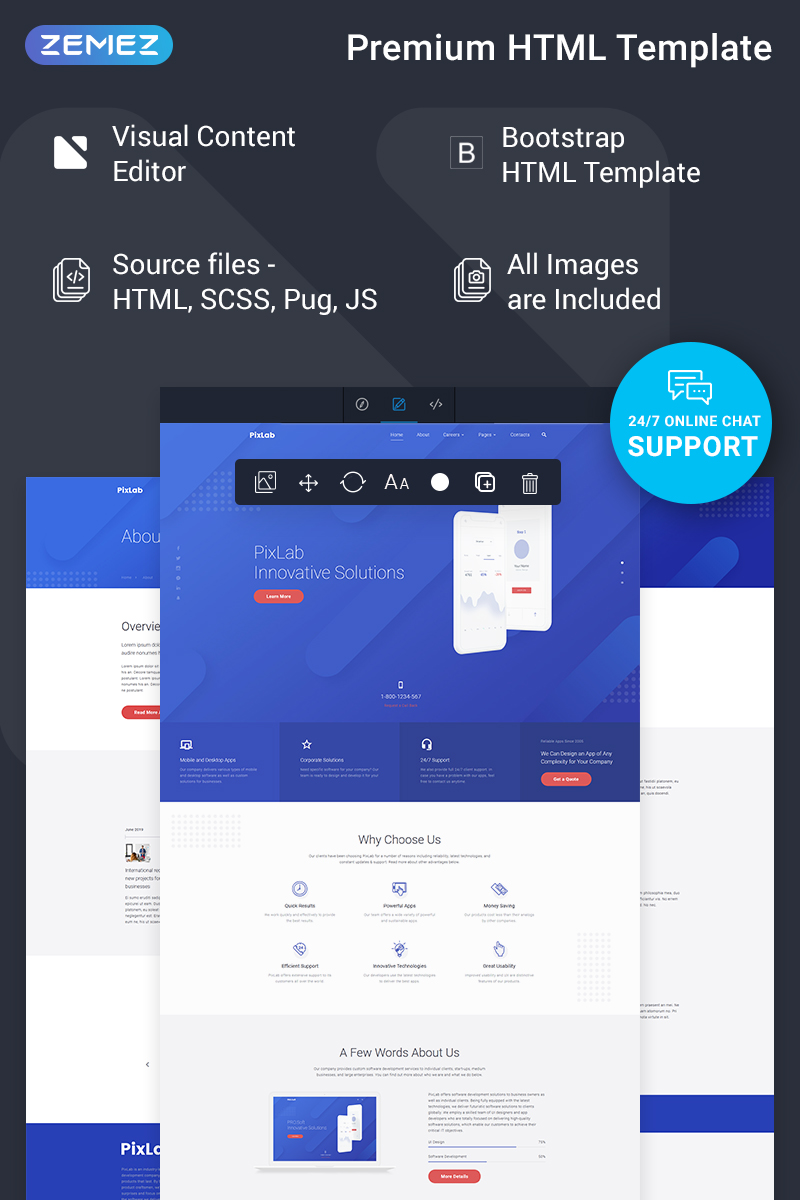 "Modello Siti Web Responsive #77219 ""PixLab - Software Company Ready-to-Use Creative HTML"""