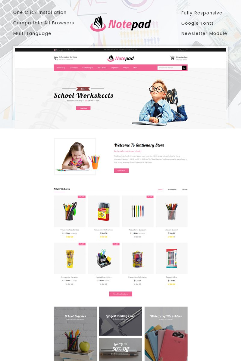 NotePad - Stationary Store OpenCart Template