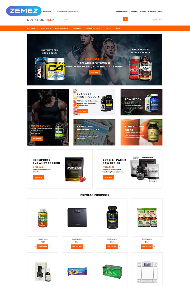"OpenCart Vorlage namens ""Nutrition Help - Sports Food Store Clean"" #77291"
