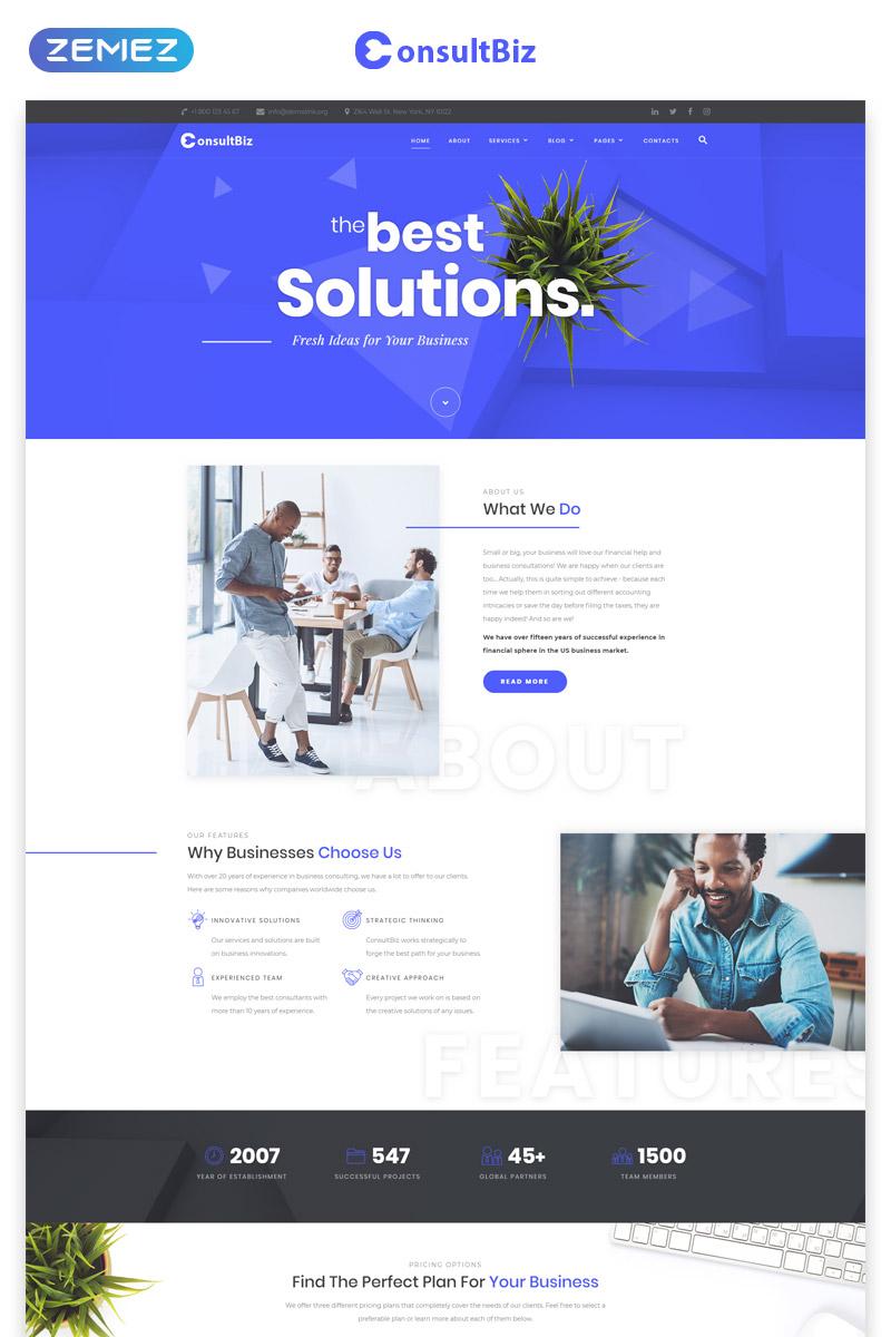 """Plantilla Web """"ConsultBiz - Financial Advisor Multipage Classic HTML Bootstrap"""" #77289"""