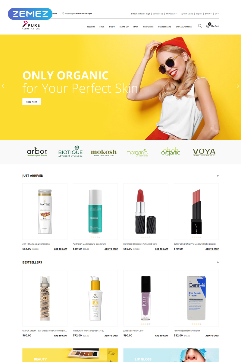 """Pure - Beauty Supply Clean"" Responsive OpenCart Template №77290"
