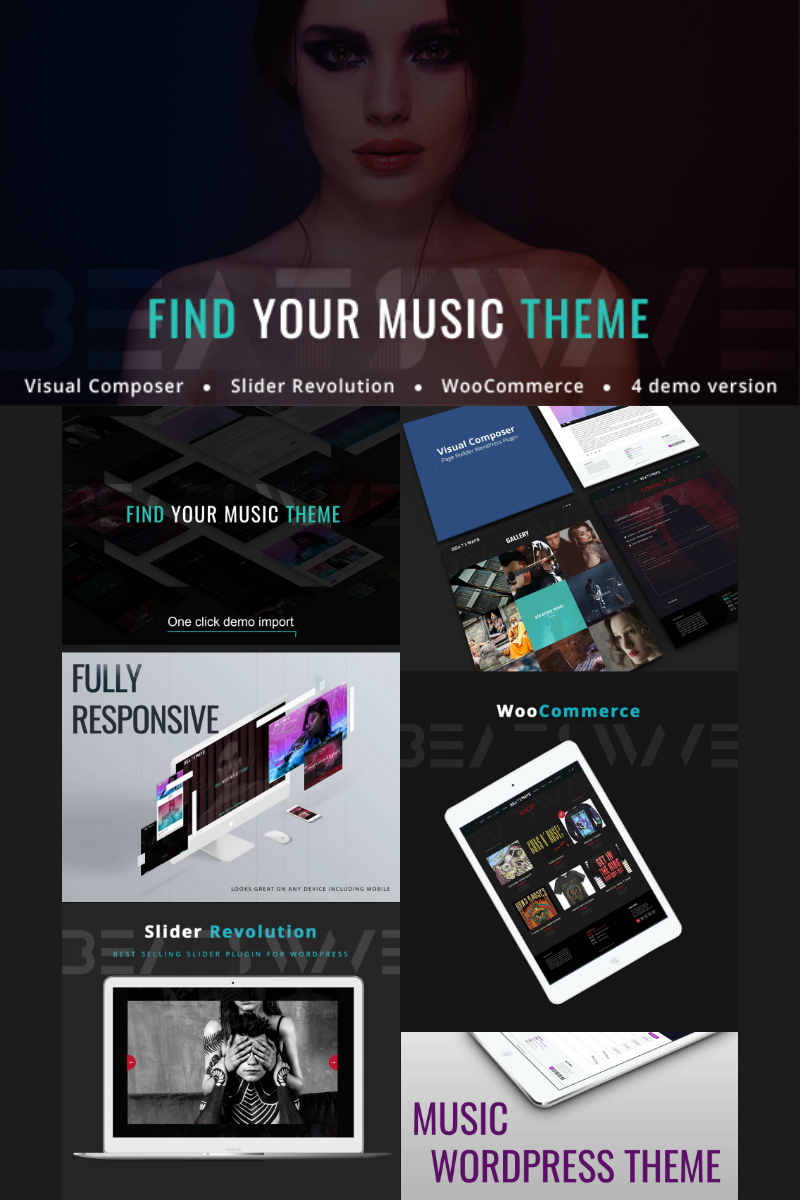 Responsivt Beatswave - Creative Music WordPress-tema #77238