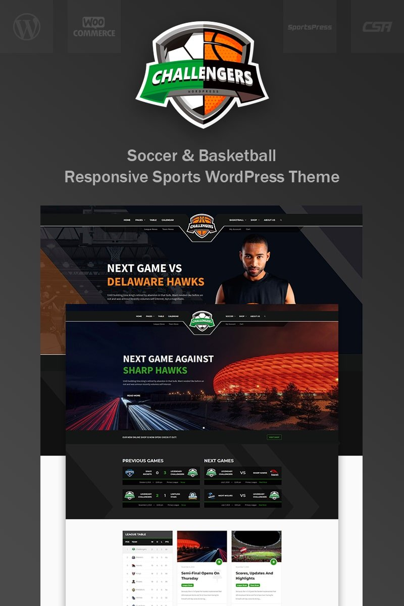 Responsivt Challengers - Soccer and Basketball Club Sports WordPress-tema #77292