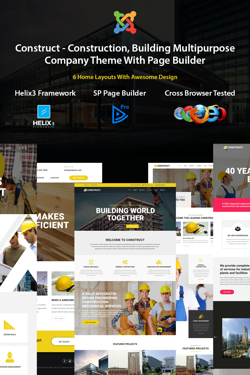 Responsivt Construct - Construction, Building Multipurpose Joomla-mall #77296