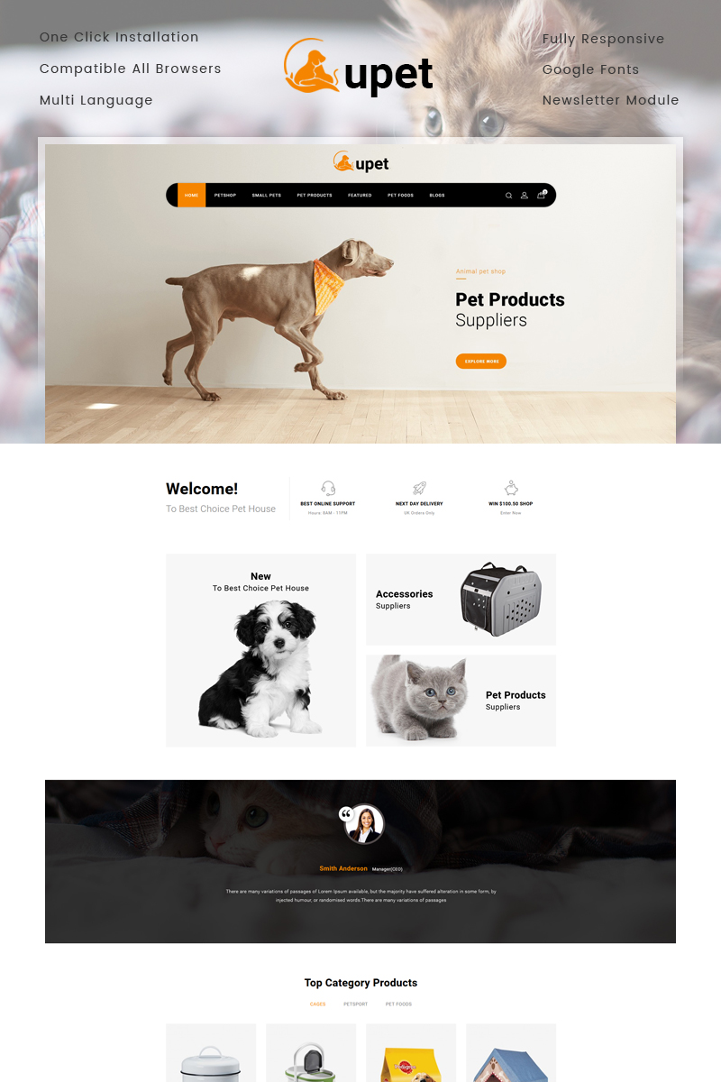 Responsivt Upet Pets Store OpenCart-mall #77237 - skärmbild