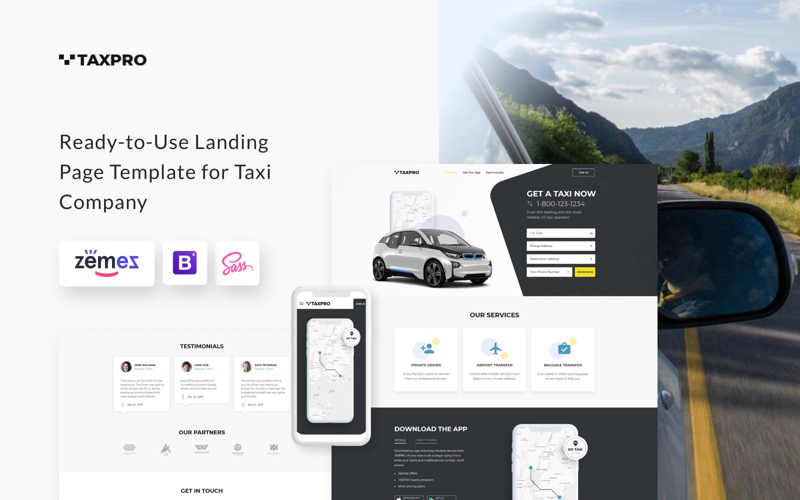"""""""Taxpro - Taxi Minimal Bootstrap HTML"""" modèle  de page d'atterrissage adaptatif #77212"""
