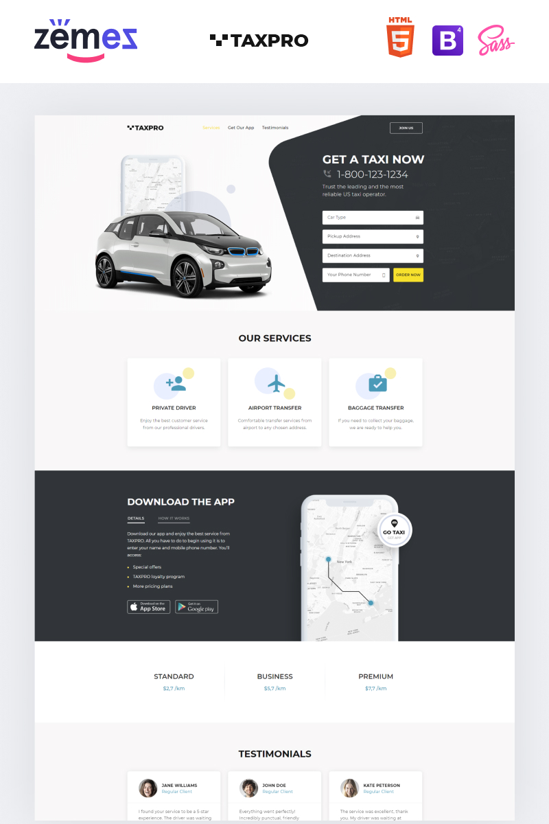 """""""Taxpro - Taxi Minimal Bootstrap HTML"""" 响应式着陆页模板 #77212"""