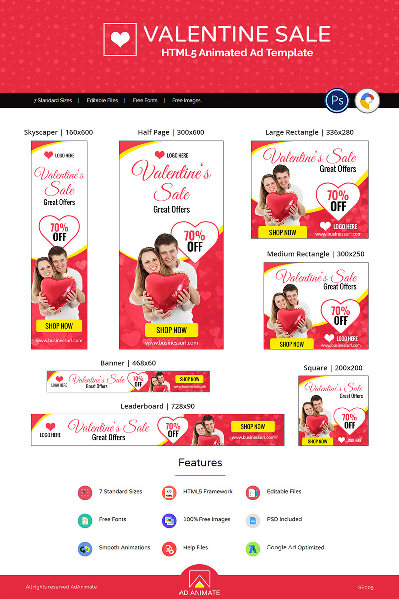 "Tema Animated Banner #77241 ""Valentine Sale Shopping"" - screenshot"