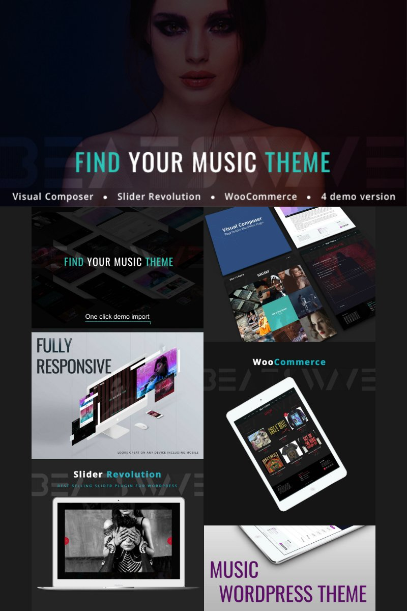 "Tema WordPress Responsive #77238 ""Beatswave - Creative Music"""