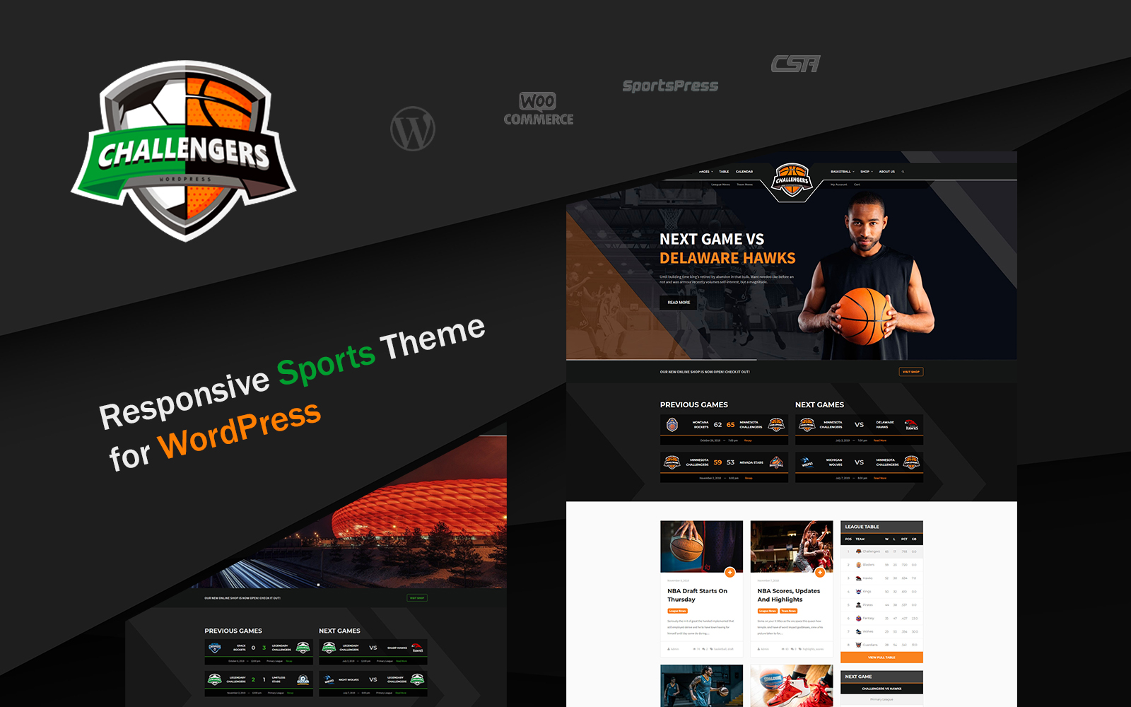 "Tema WordPress Responsive #77292 ""Challengers - Soccer and Basketball Club Sports"""