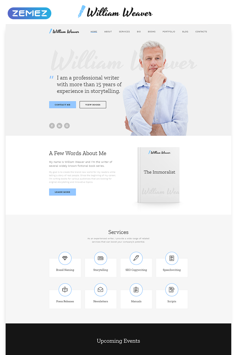 William Weaver - Author Classic Bootstrap HTML Landing Page Template