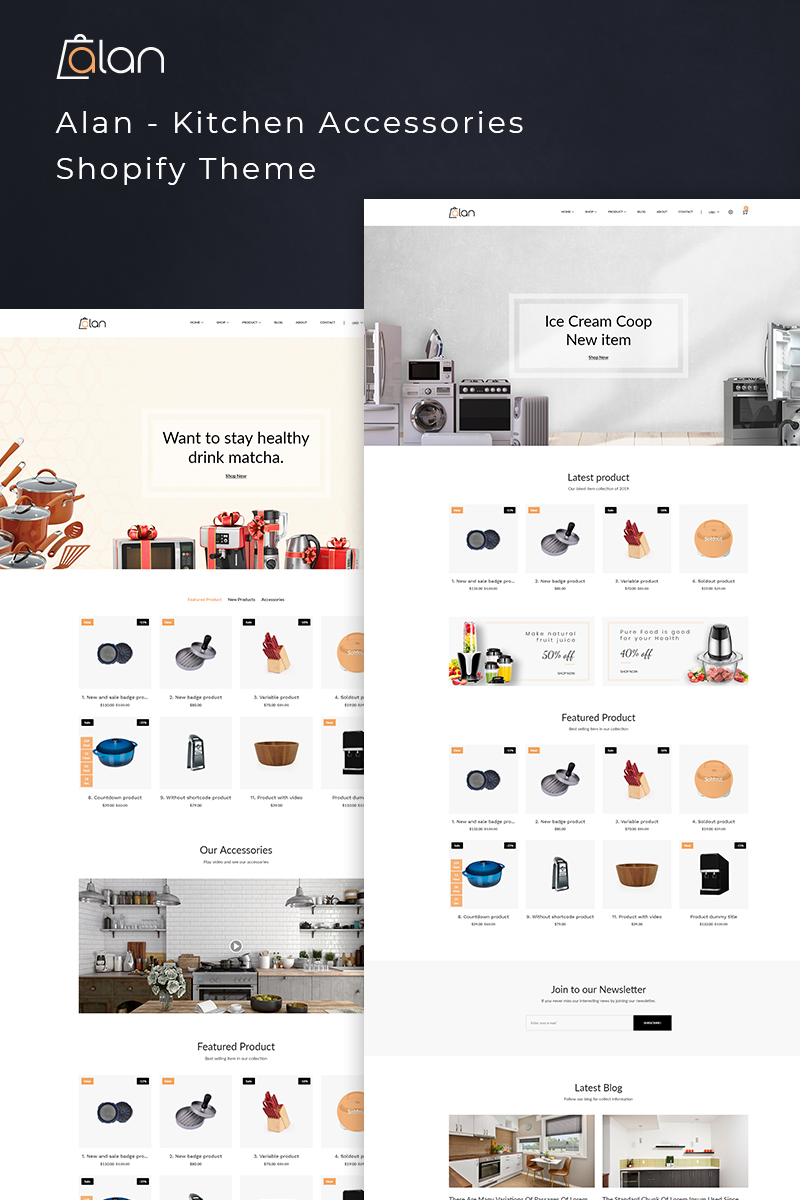 """Alan - Kitchen Accessories"" Responsive Shopify Thema №77391"