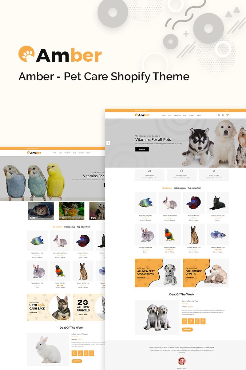 """Amber - Pet Care"" - адаптивний Shopify шаблон №77390"