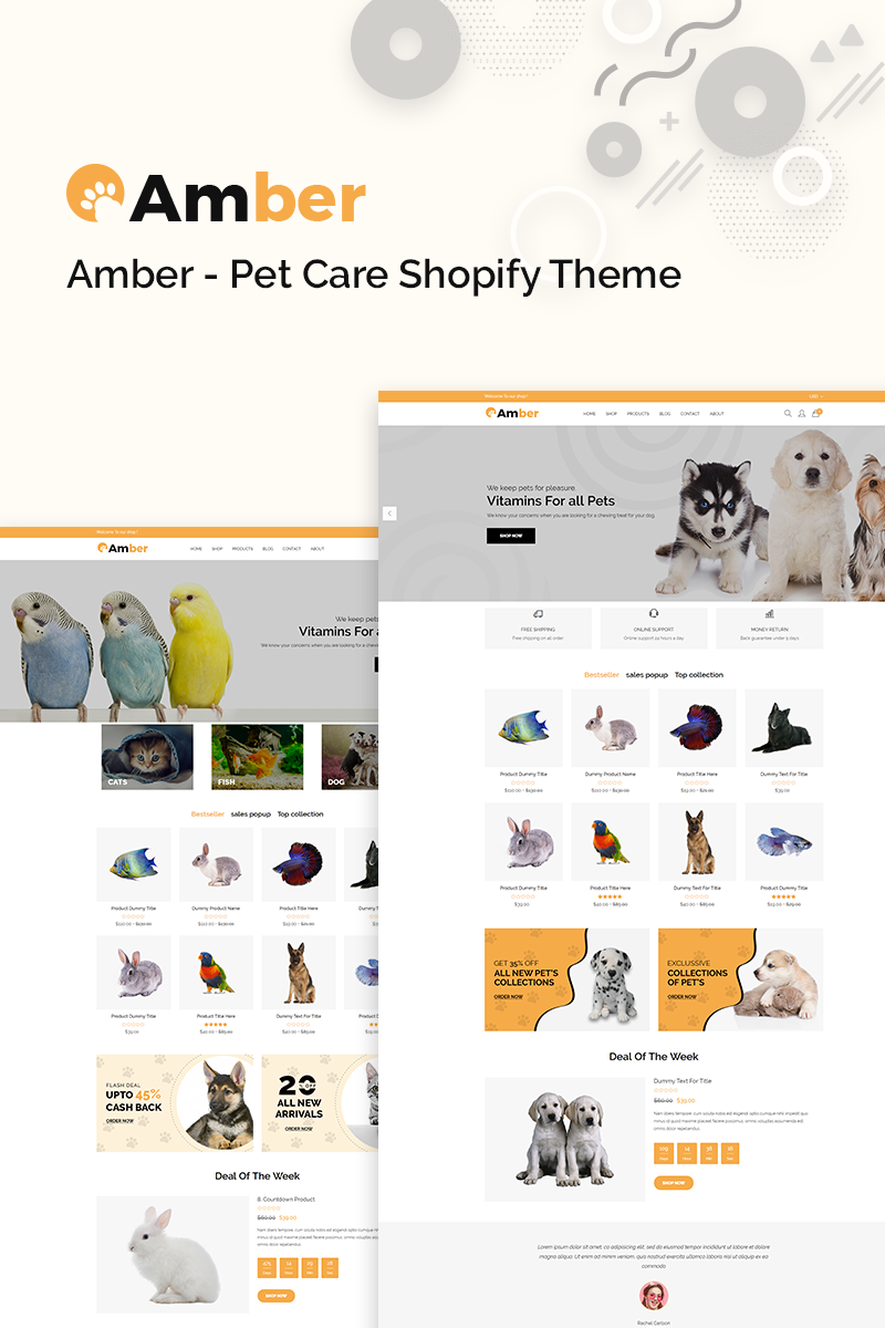 """""""Amber - Pet Care"""" 响应式Shopify模板 #77390"""