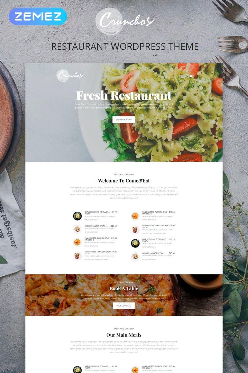 """Crunchos - Restaurant Ready-to-Use Modern Elementor"" 响应式WordPress模板 #77397"