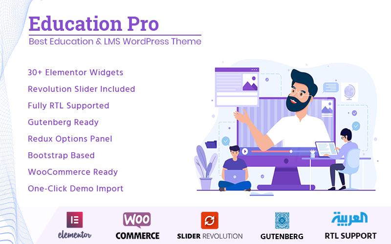 """Education Pro - Best Education & LMS"" - адаптивний WordPress шаблон №77372"
