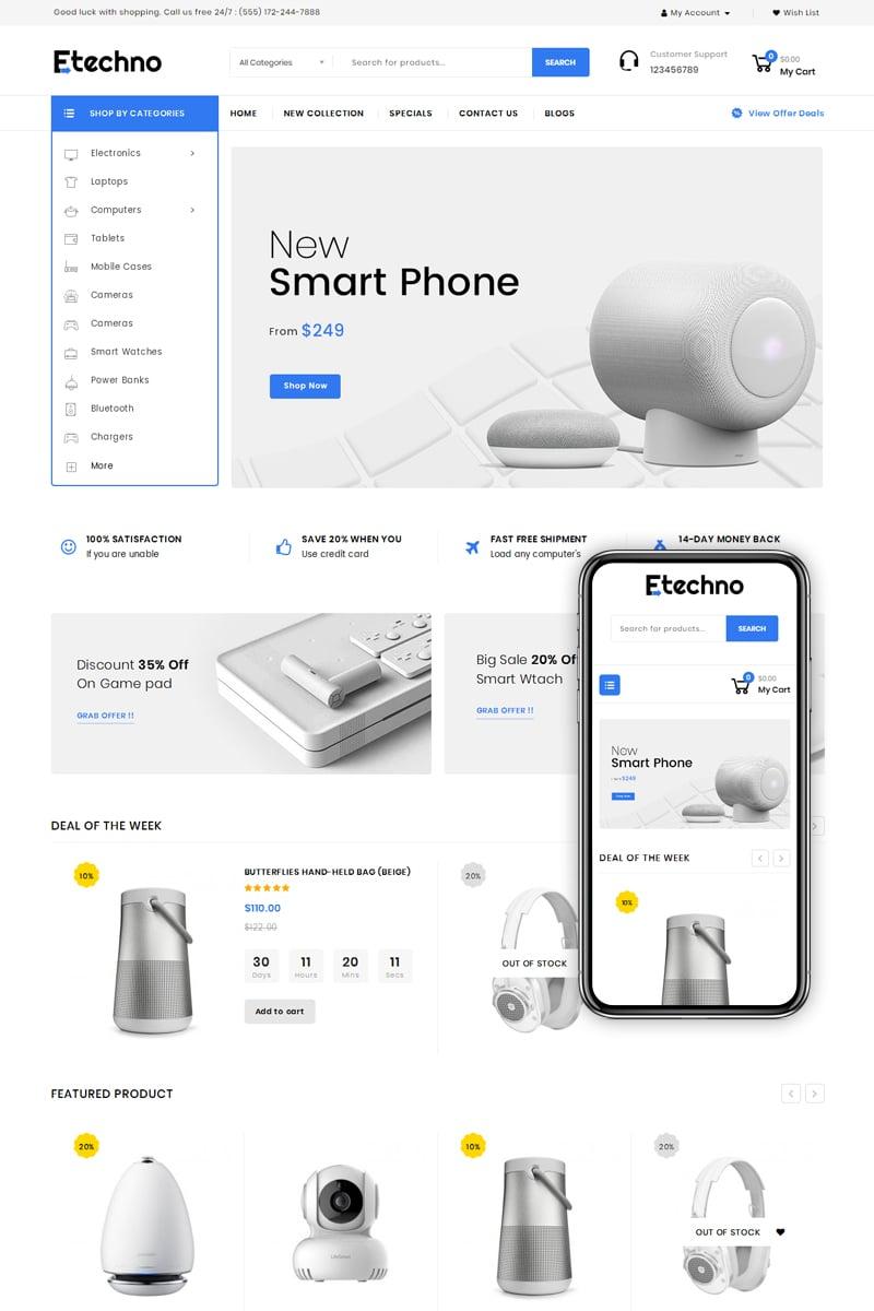 """Etechno - Electronics Store"" - адаптивний OpenCart шаблон №77378"