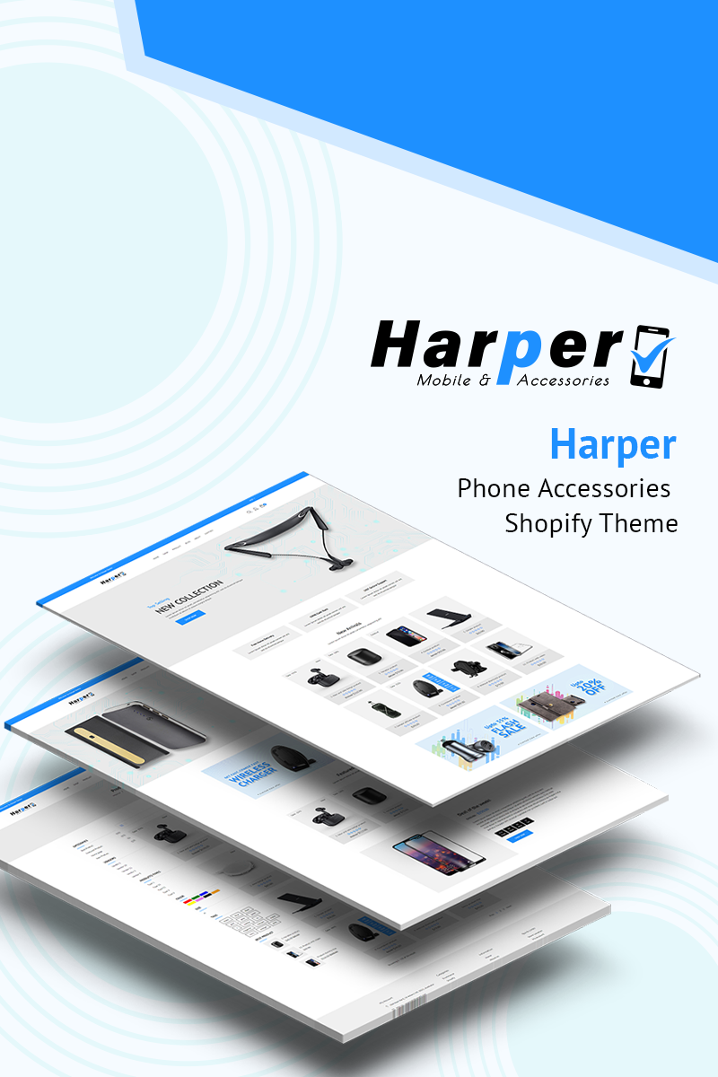 """Harper - Phone Accessories"" - адаптивний Shopify шаблон №77389"