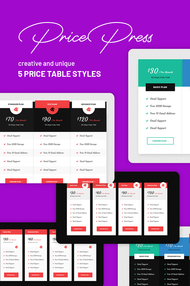 PricePress - Business Pricing Table PSD Elementos UI №77394
