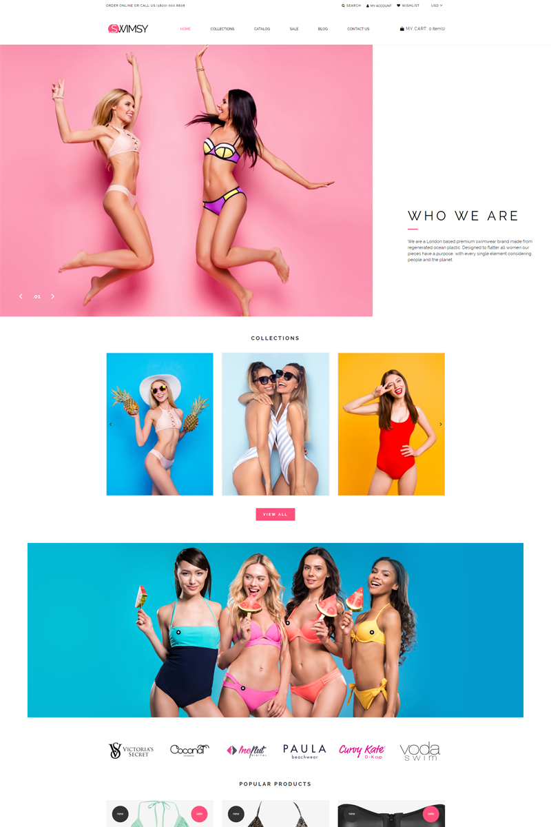 """SWIMSY - Swimwear Stylish"" Responsive Shopify Thema №77385"