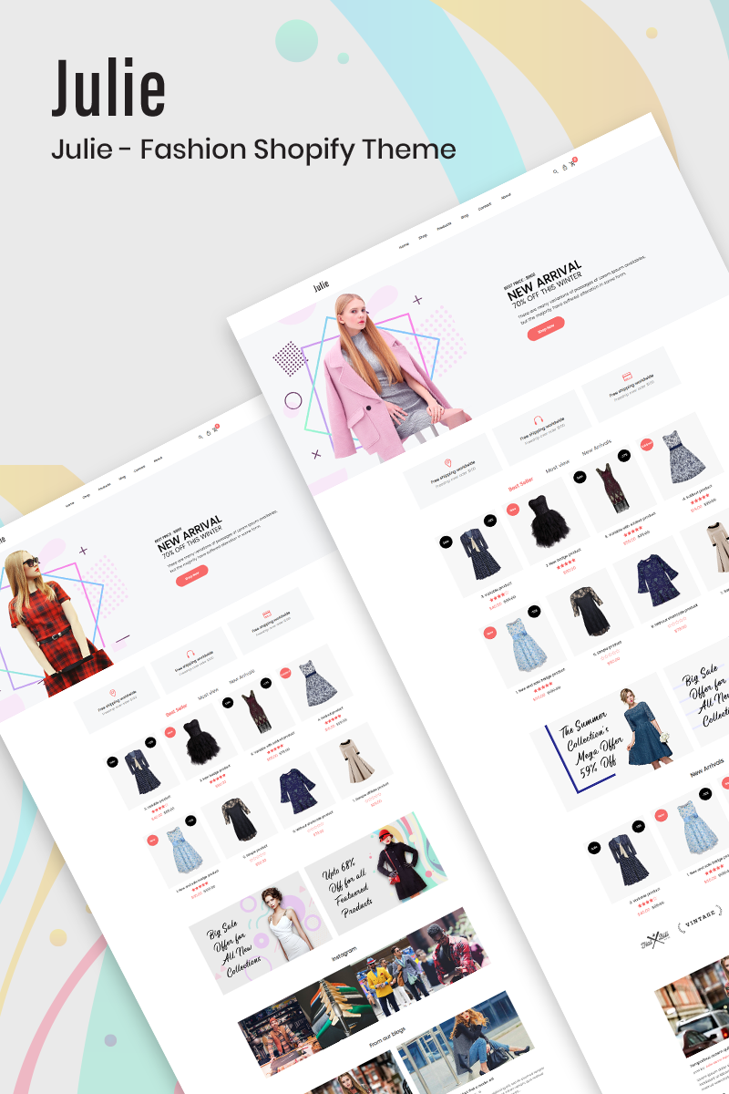 "Tema Shopify ""Julie - Fashion"" #77360 - captura de pantalla"