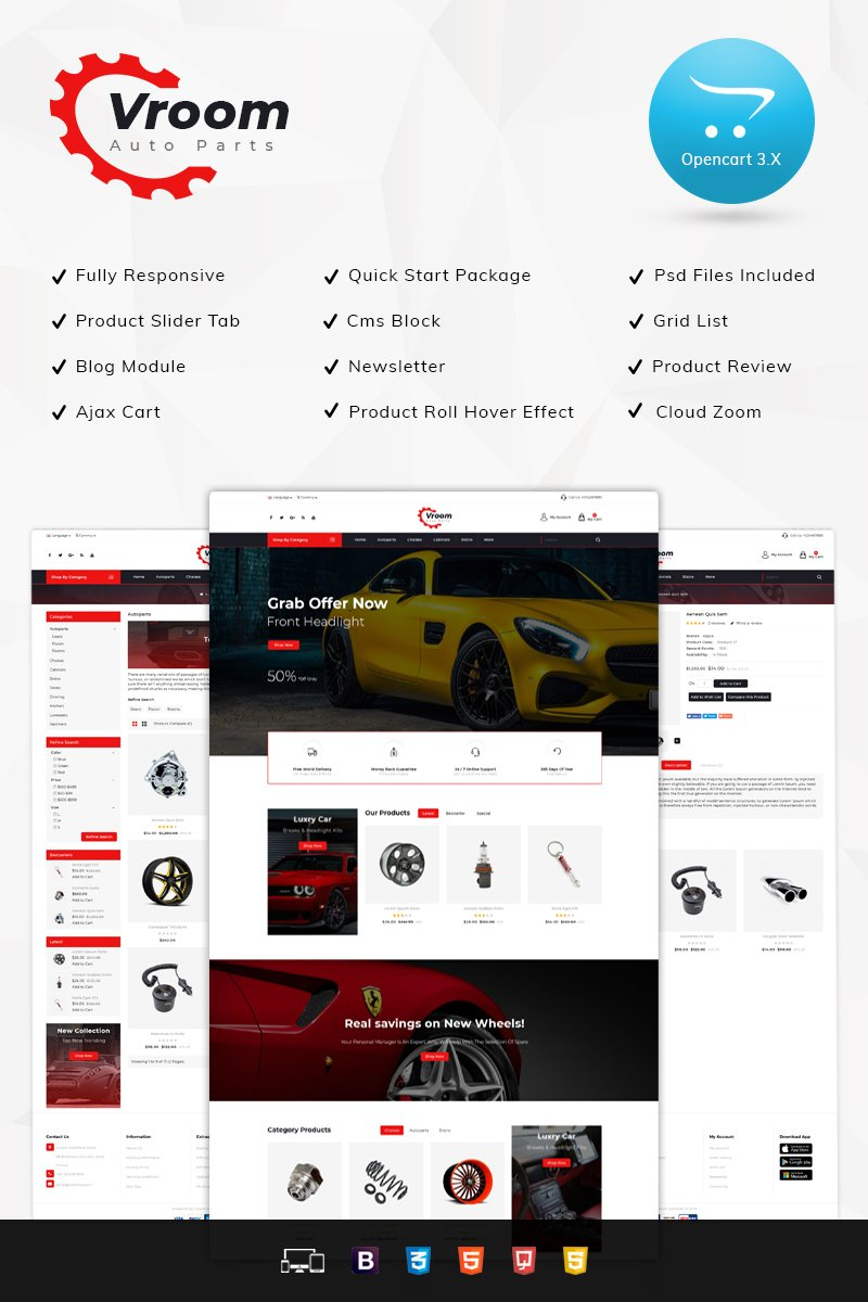 """Template OpenCart Responsive #77365 """"Vroom Auto Spare-Parts Store"""""""
