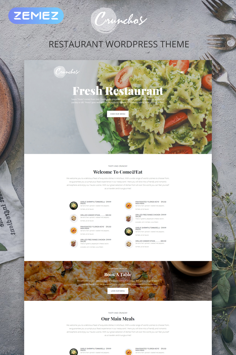"WordPress Theme namens ""Crunchos - Restaurant Ready-to-Use Modern Elementor"" #77397"