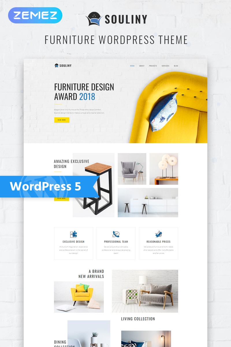 "WordPress Theme namens ""Souliny - Furniture Multipurpose Modern Elementor"" #77318"