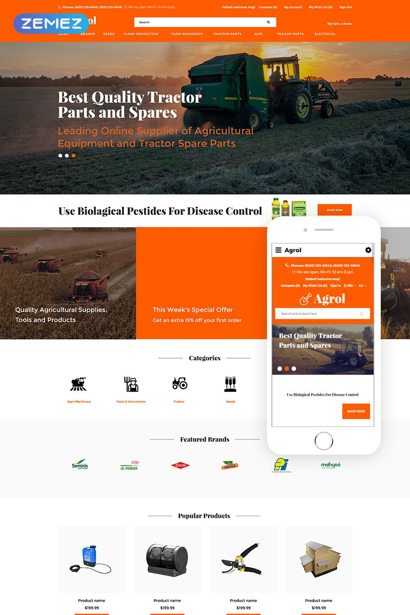 """""""Agrol - Agricultural Creative"""" Responsive OpenCart Template №77487"""