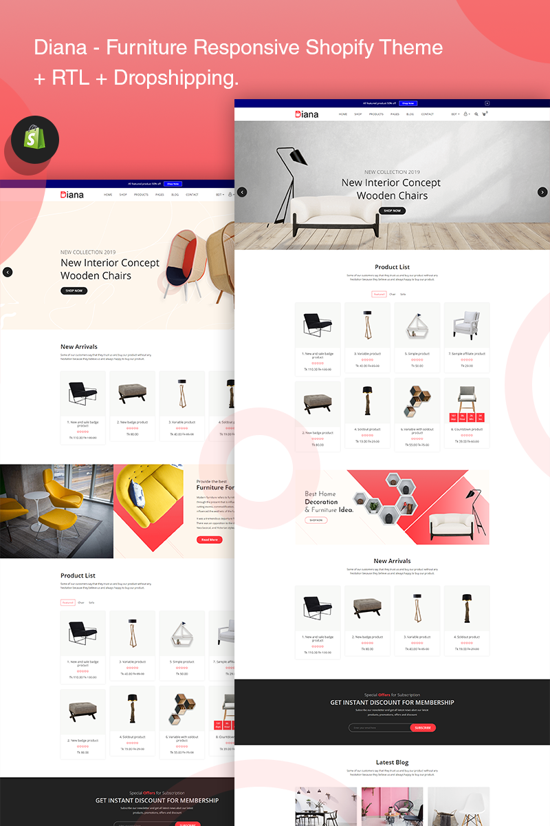 """Diana - Furniture Responsive"" - адаптивний Shopify шаблон №77406"