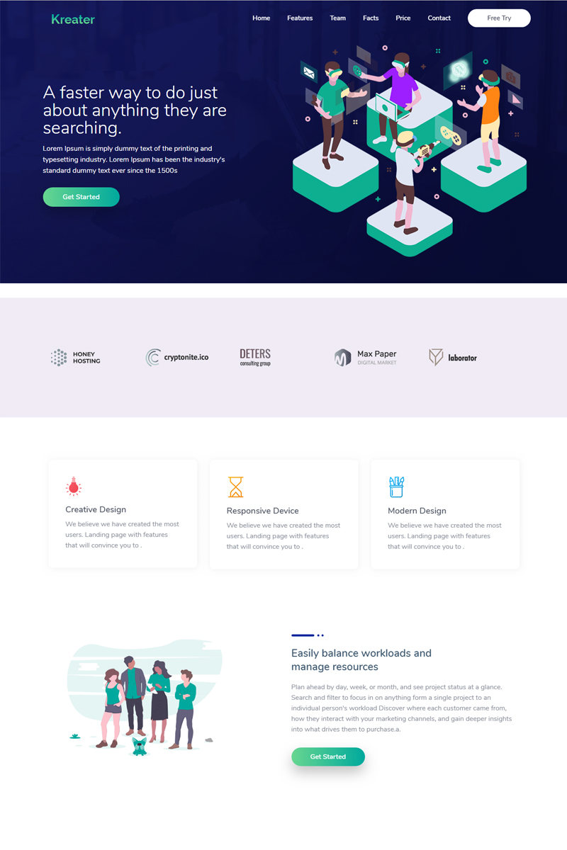 Kreater - Creative Startup Landing Page Template