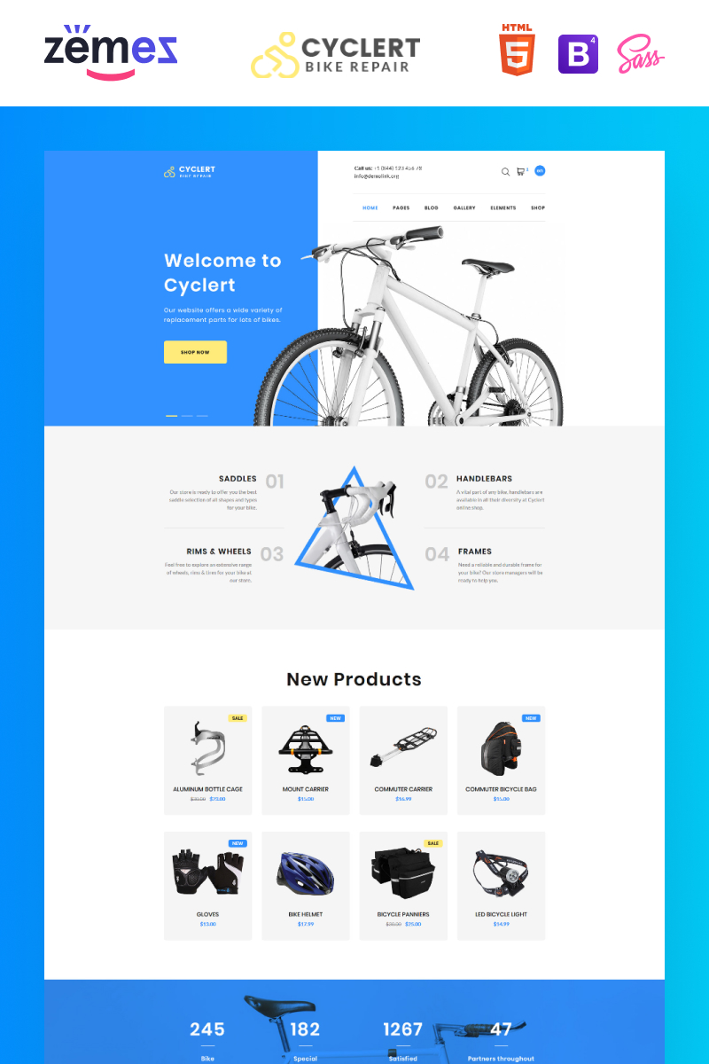 Responsivt Cyclert- Cycling Multipage Clean HTML Hemsidemall #77402