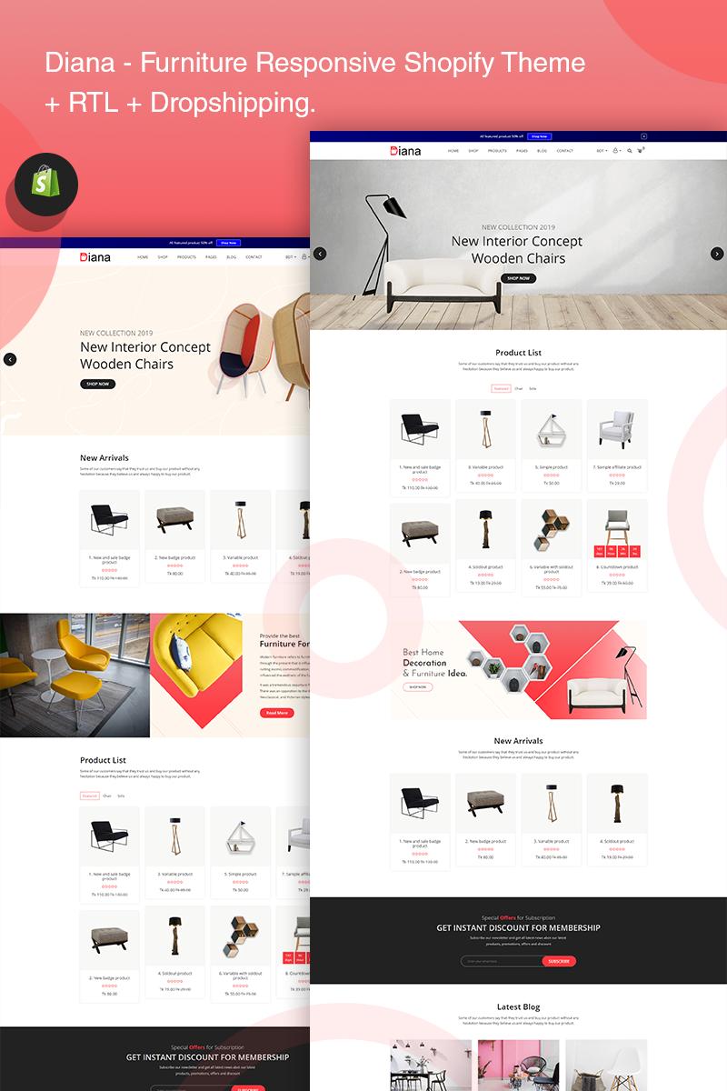Responsivt Diana - Furniture Responsive Shopify-tema #77406