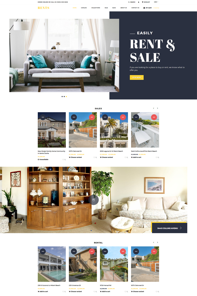 Responsivt RENTS - Real Estate Multipage Clean Shopify-tema #77403