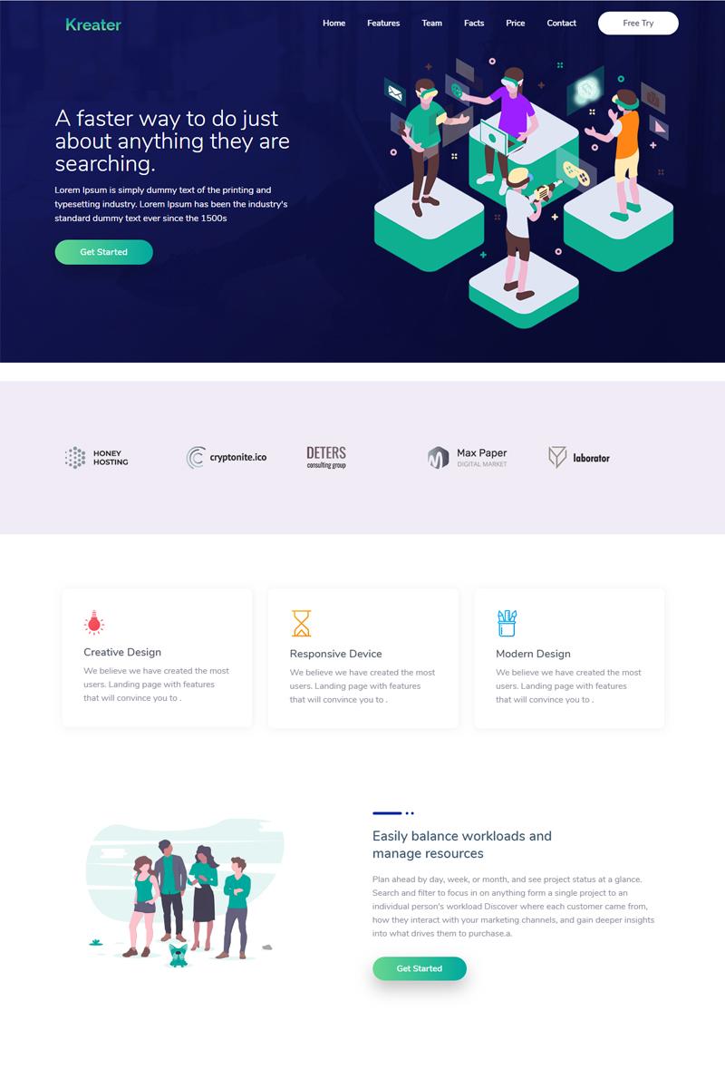 """Responzivní Šablona mikrostránek """"Kreater - Creative Startup"""" #77410"""