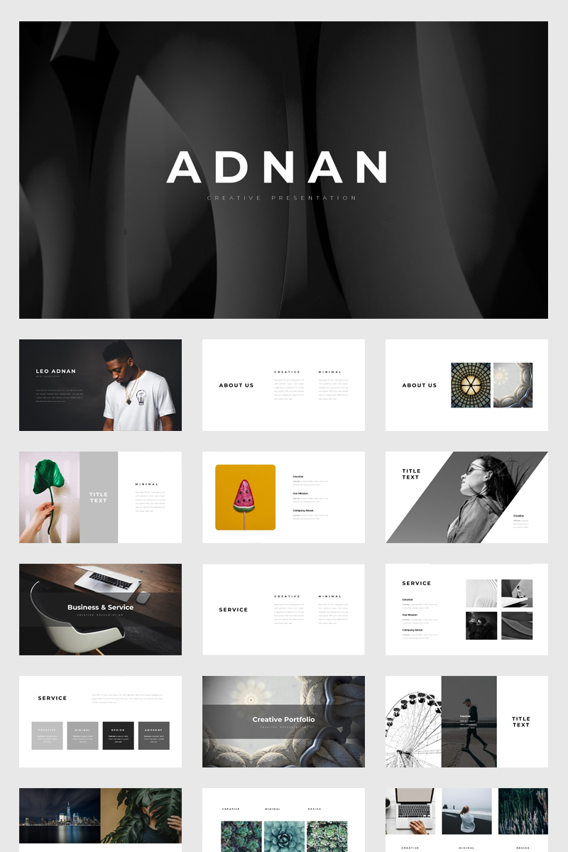 Adnan Minimal Presentation PowerPoint Template - screenshot