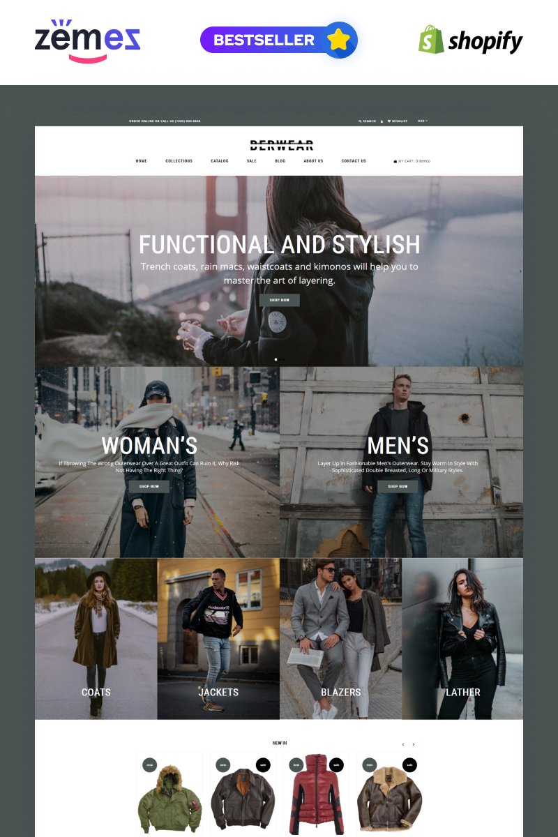 """BERWEAR - Fashion Multipage Elegant"" - адаптивний Shopify шаблон №77541"