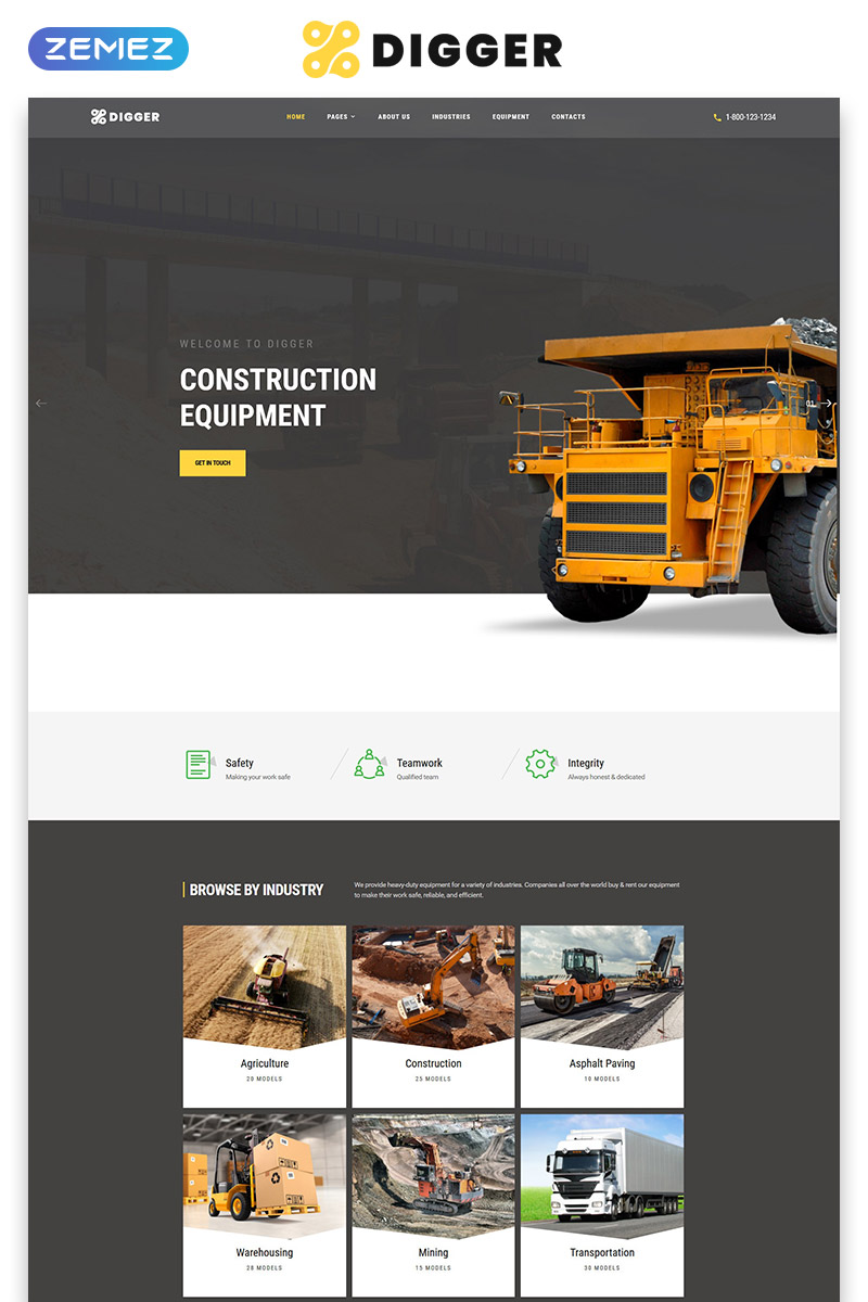 """DIGGER - Tools & Equipment Multipage Classic HTML"" Responsive Website template №77533"